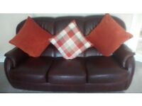 Sofa, brown leather. 3 piece.