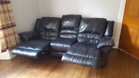 Used Black Leather Recliner Sofa