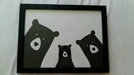 Three bears family selfie by Heather Alstead South Woodford A3 picure in frame Nursery decor