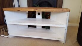 TV Stand shabby chic rustic hand painted solid wood