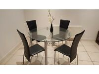 Circular, Glass Dining Table and 6 Chairs