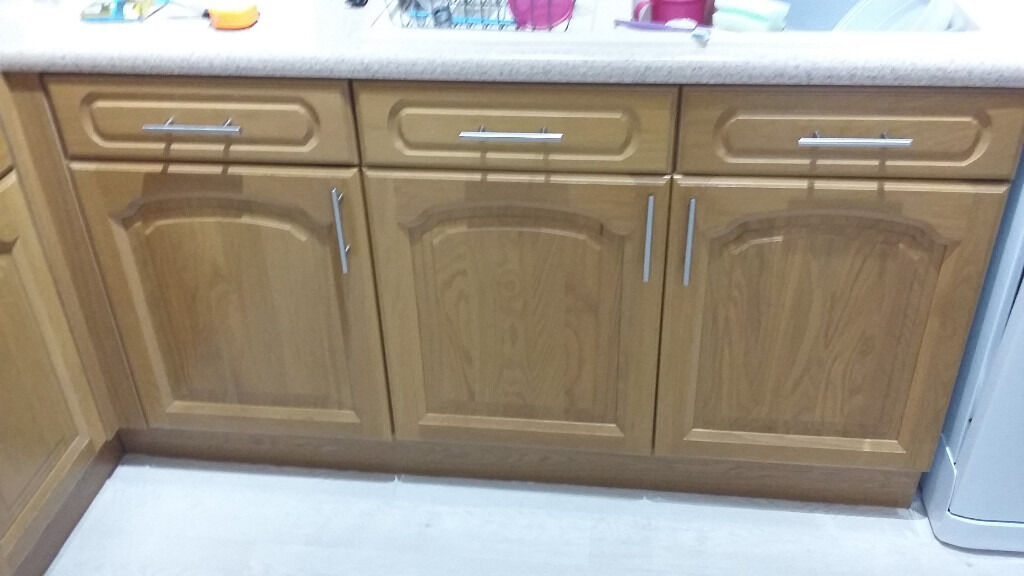 Solid oak kitchen cupboard doors drawer fronts and end for Kitchen drawer units for sale