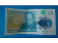 Banknote five pound note £5 AA16 247214