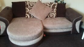 Suite excellent condition 3 seater sofa swivel chair and storage pouffe bargain £250 tel 07