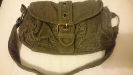 Small khaki green cordroy handbag purse