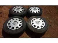 "4 x VW GOLF Mk4 14"" Steel wheels & Tyres & trims"