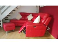 Real Italian leather corner sofa with alectric recliner and matching storage footstool.