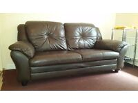Lather Sofa very good condition, brown color, no tearing, very good price