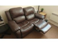 Dark brown 2 seater leather recliner sofa couch settee