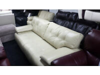 MODERN CREAM ENDURANCE LEATHER STATIC 3+CUDDLE CHAIR