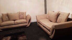2x Beige Coloured Fabric Sofas | HARDLY USED | LOCAL DELIVERY AVAILABLE