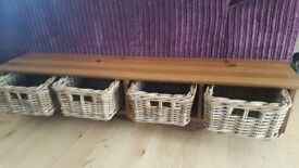Wooden Shelf with baskets & hangers