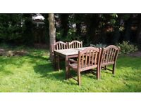 Outdoor Dining table with 4 x carver chairs/ solid teak wood/ garden furniture/Patio/decking
