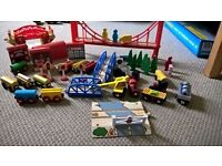 Brio, Bigjig and Ikea wooden train set with loads of accessories and trains.