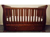 Sleigh cotbed dark finish (Babies r us £299.99 RRP)