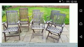 6 solid wood garden chairs