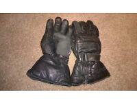 Black Leather Schoeller Motrocycle Gloves