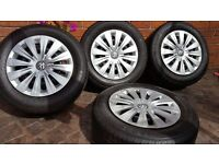 "4 GENUINE OEM STEEL WHEELS AUDI SEAT VW 15"" 195 65 15 GOLF MK5 MK6 PASSAT CADDY"