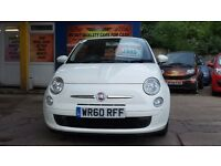 FIAT 500 60 PLATE £2995 1.2 PETROL IN WHITE FULLY LOADED SERVICE HISTORY 1 YEAR MOT WITH WARRANTY