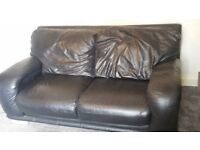 Black leather sofas 2 seater and 3 seater