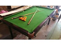 "Sturdy pool table. Well used but tidy. 2m X 1.13m -- 6'6"" X 3' 8"""