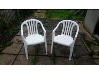 Plastic garden chairs x2