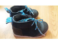 Infant Boy's Clarks navy blue leather and suede boots, size 5.5G