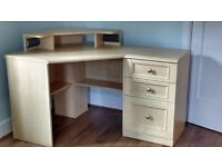 Corner computer desk with matching filing cabinet, bedside chest and chest of drawers