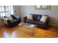 John Lewis Brown Leather Sofa and Snuggler