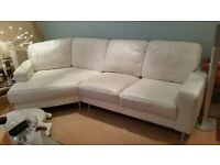 Cream Leather Corner Sofa and Two Arm Chairs