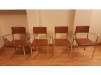 4 Modern Chairs - Leather & Chrome Style