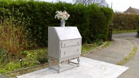Lovely Vintage Bureau/Computer Desk. Shabby Chic, Paris Grey.