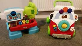 Toddler walker and work bench toys