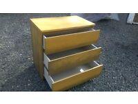 Oak effect deep drawered 3 drawer chest