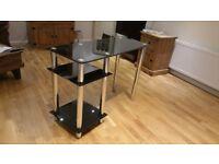 Black Glass Chrome Desk/Table