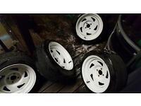 Extreme offsets bda wheels 4x100 15x8j