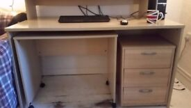3 piece beech desk and set of drawers. Good condition. Will deliver locally.