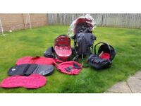 Oyster 3 in 1 pram in Multi Colour Edition Black / Red for sale
