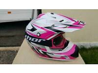 MX pink helmet and goggles, motocross enduro gear