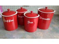 Red tea coffee sugar and biscuits storage set