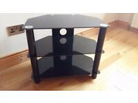Reinforced black glass TV stand - corner unit.