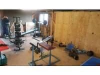 Gym equipment - 400kg free weights, bars, bells, racks, pulleys