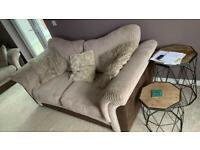 Sofa and storage footstool.