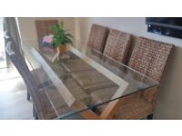 Solid Oak & Glass 6 Seater Table