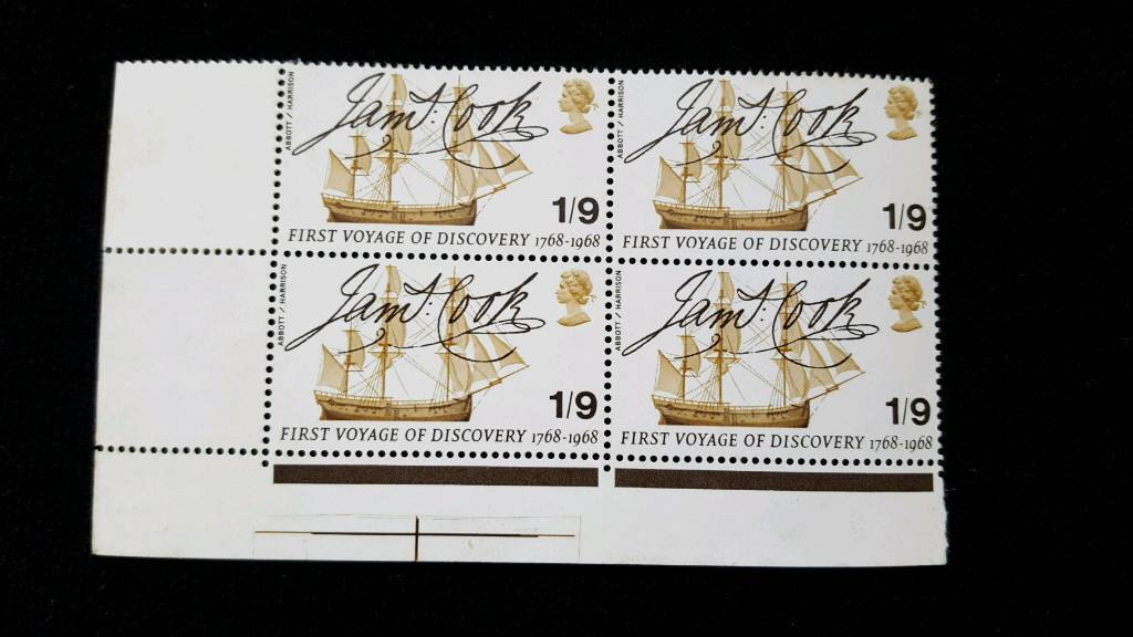 BLOCK OF 4 JAMES COOK FIRST VOYAGE OF DISCOVERY 1/9 STAMPS