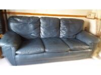 Good condition Navy blue leather 3 piece and 1 chair £175ono