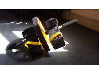 Abs abdominal roller with foot straps + resistance band