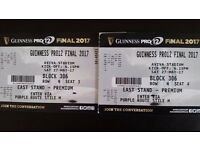 2 x Pro 12 Final Tickets, half way line premium seats .