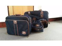 3 Piece Antler Luggage Set - Suitcase, Suit Carrier and Overnight Bag. All in navy with brown trim.