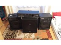 Pa system maj electronics speakers, amp and skytec active subwoofer